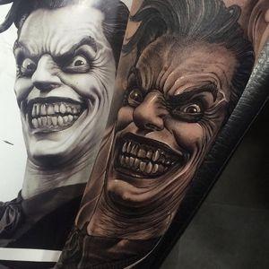 Joker tattoo by Fred Thomas #FredThomas #monstertattoos #monstertattoo #monster #demon #vampire #devil #ghoul #ghost #darkart #horror #TheJoker #Joker #Batman