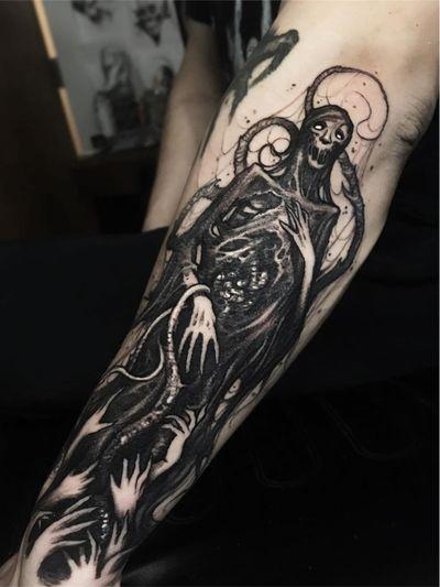 Monster tattoo by Brandon Herrera #BrandonHerrera #monstertattoos #monstertattoo #monster #demon #vampire #devil #ghoul #ghost #darkart #horror #reaper #skull #death