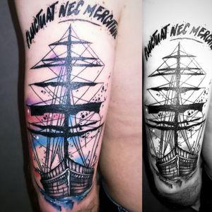 #Ship #Boat #Paris #FluctuatNecMergitur #aquarelltattoo #colors