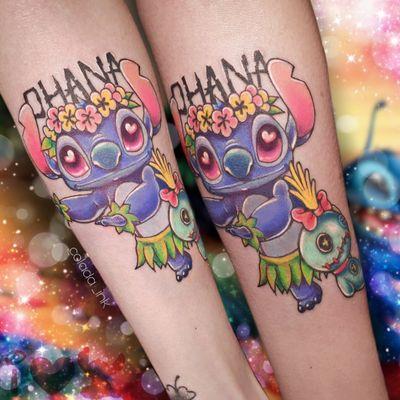 𝕆𝕙𝕒𝕟𝕒 𝕞𝕖𝕒𝕟𝕤 𝕗𝕒𝕞𝕚𝕝𝕪 🌸 #stitch #stitchtattoo #disney #disneytattoo #armtattoo #cute #cutetattoos #girly #girlytattoo #kawaii #kawaiitattoo #colortattoo #comictattoo #ladytattooers #ohana #ohanameansfamily