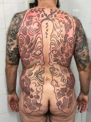 Work in progress tattoo by Ruco #Ruco #wiptattoo #wip #workinprogress #inprogresstattoo #unfinished #linework #backtattoo #backpiece #surreal #surrealism #portrait #strange