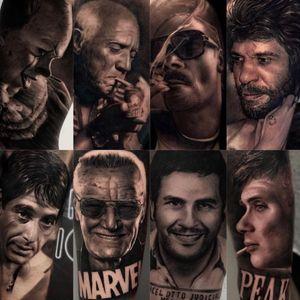 Hyperrealist tattoo by Ganga #Ganga #realism #hyperrealism #blackandgrey #peakyblinders #IT #horror #picasso #SnoopDogg #Scarface #AlPacino #Marvel #StanLee #PabloEscobar #portrait
