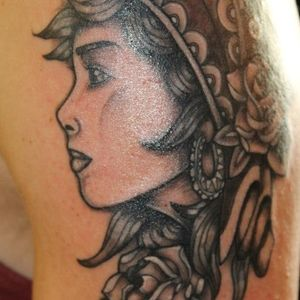 Black and grey, Gypsy face, woman's face, arm tattoo, head scarf