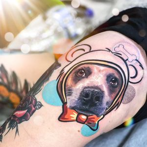 Work in progress tattoo by Chris Rigoni #ChrisRigoni #wiptattoo #wip #workinprogress #inprogresstattoo #unfinished #linework #upperleg #dog #bone #realism #realistic #abstract #bear #bowtie