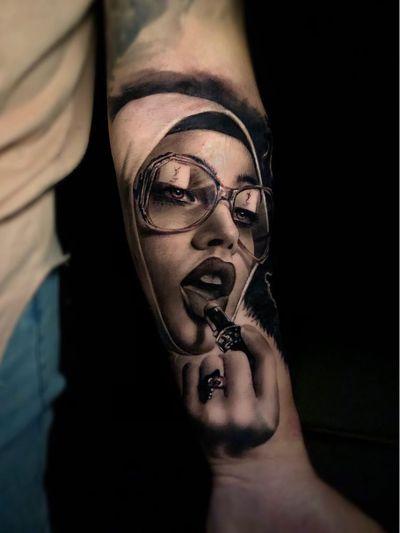 Hyperrealist tattoo by Ganga #Ganga #realism #hyperrealism #blackandgrey #portrait #YSL #lady #ladyhead #lipstick #fashion #style #forearmtattoo