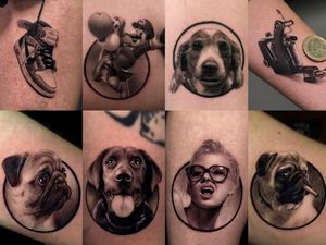 Hyperrealist tattoo by Ganga #Ganga #realism #hyperrealism #blackandgrey #nike #mario #dog #tattoomachine #pug #lady #ladyhead #portrait #sneaker #shoe #luigi #small #circle