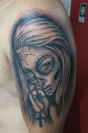 Catrina por Eddy Cordero #tattoo #tattooart #catrinatattoo #skulltattoo #PuraVida