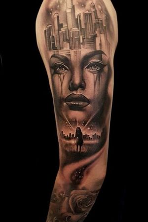 by Pippa at sacred steel #portrait #city #cityscape #surreal #surrealism #rose #sleeve #ladyface #blackandgrey #blackandgray #space