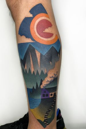 Landscape for Alfee. #mikeboydtattoos #landscape #cubism #abstract #colourtattoo