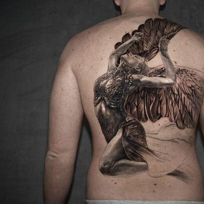 Work in progress tattoo by Niki Norberg #NikiNorberg #wiptattoo #wip #workinprogress #inprogresstattoo #unfinished #linework #blackandgrey #realism #realistic #hyperrealism #angel #goddess #backpiece #backtattoo