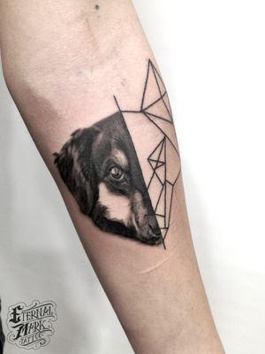 #dogtattoos #dog #dogy #realistic #blackandgrey #geometric #halfgeometric #animal