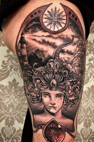 #artnoveau #queen #sea #kraken #ship #lighthouse