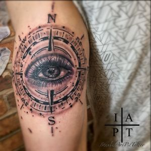 Know your path; watch your back.. #compass #eye #triceps #realistic #blackandgrey #tattoooftheday