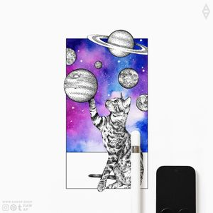 THE WINDOW. Wonderful cat design with a contemporary twist! www.rawaf.shop/tattoo is the proper address if you're looking for hundreds of dotwork/blackwork/geometric designs! Follow on social media (IG, Pinterest, Tumblr) and never miss a new design. #dotwork #watercolor #stippling #galaxy #colorful #cat #planets #geometric #animal #nature