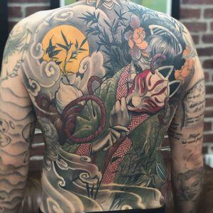 Fox tattoo by Christopher Henricksen #ChristopherHenriksen #foxtattoo #foxtattoos #fox #kitsune #animal #nature #geisha #mask #color #backtattoo #backpiece #lady #moon #Japanese #NeoJapanese #flower