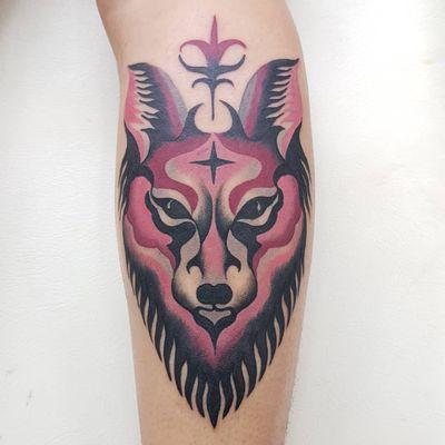 Fox tattoo by Marine Perez #MarinePerez #foxtattoo #foxtattoos #fox #kitsune #animal #nature #popart #graphicart #newschool #color #lowerleg #lowerlegtattoo #pink