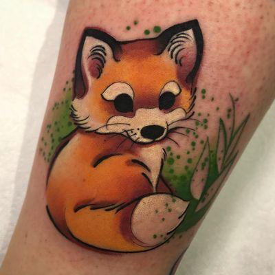 Fox tattoo by Cloto Acherontia #clotoacherontia #foxtattoo #foxtattoos #fox #kitsune #animal #nature #newschool #lowerlegtattoo #lowerleg #plants #leaves #color