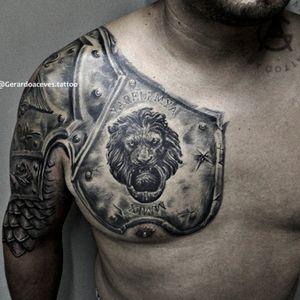 Lion armor tattoo . . . . . . #sculpture #armortattoo #armor #liontattoo #lion #blackandgreytattoo #blackandgrey #realistictattoos #chest #chesttattoo #tattoo #tattooartist #tattooart