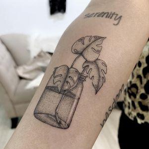 Tattoodo App Best tattoo by Bessie Lou #BessieLou #tattoodoapp #besttattoos #cooltattoos #tattoosformen #tattoosforwomen #bigtattoos #smalltattoos #handpoke #dotwork #forearm #glass #leaves #leaf #plant