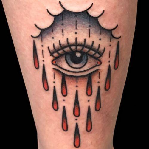 Tattoodo App Best tattoo by Laia De Sole #LaiaDeSole #tattoodoapp #besttattoos #cooltattoos #tattoosformen #tattoosforwomen #bigtattoos #smalltattoos #upperarm #eye #traditional #tears #cloud #color