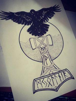 Hammer with Raven #tattooideas #drawings #Tattoodo #vikinghammer #raven