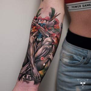 Colourful sleeve in progress, based on the artwork of talented Hannah Yata.