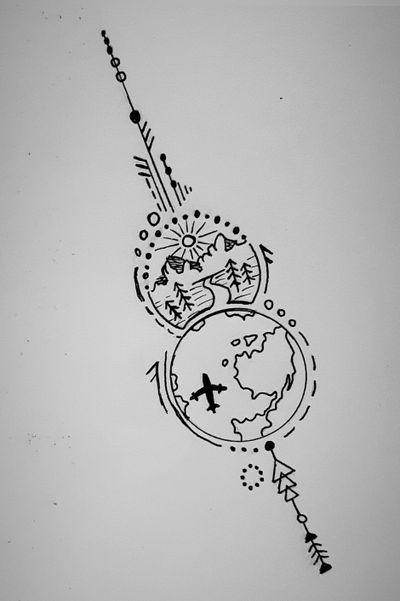 Where do you love to travel? . . #trip #plane #mountaintattoo #planet #adventure #circles #earth #dotwork #atrwork ✈🌍
