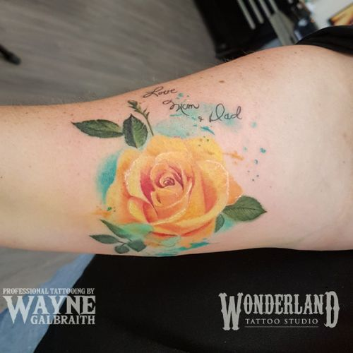 Had a blast tattooing an old friend this week! Here is the rose with her parents handwriting and the digital sketch I created for it. Thanks for looking  #watercolortattooartist #watercolortattoo #colortattoo #kwawesome #wonderlandkitchener #mdwipeoutz #inkedcircustattooexpo  www.wonderlandstudioskw.com