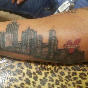 Downtown Atlanta #etheartist #yeswork #tattoos #slanginink #L.A.B #empireink #hivecaps #fkiornsxion #blackandgreytattoo #Atlantatattoos #Atlantaskylinetattoo