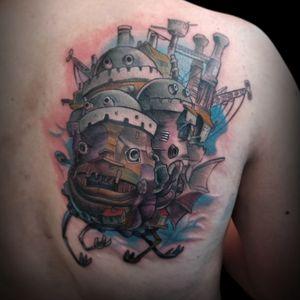 Howls Moving Castle for Tolkien. Thanks mate! Big thanks to @_littletokyo_ and @rhysgordon for having me . . . . . . . . . . #studioghibli #ghibli #ghiblitattoo #hayaomiyazaki #diannawynnejones #howlsmovingcastle #howlsmovingcastletattoo #animetattoo #anime #animation #colortattoo #colourtattoo
