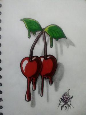 """Cherries"" #cherry #cherryblossom #cherrybomb #owndesign #cerezas #diseñodetatuaje"