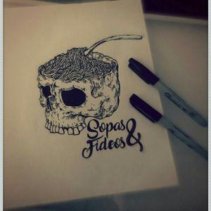 #blackwork #linework #Buajajaja #skull #sopasyfideos #tattoo #available #OzGarcia #inkmemoriam Pieza disponible, Sopas y Fideos (Buajajaja) Oz García Ink Memoriam