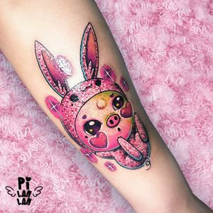 """✨🐽SPARKLE PIG BUNNY🐰✨ The girl who was born under the sign of pig. Also she loves bunny♡ """"Make it kawaii as possible as you can!"""" She said. """"Of course yap!🤪"""" I answered. #plinthespace #tattoo #art #ink #design #macarons #wristtattoo #kawaiifashion #kawaiitattoos #kawaii #love #colorful #sweet #lovely #supercutetattoos #supercute #dessert #desserttattoo #入墨紋身 #刺青 #紋身 #girltattoo #girl #diamondtattoo #pigtattoo #pig #rabbit #rabbittattoo #sparkletattoo #sparkle"""