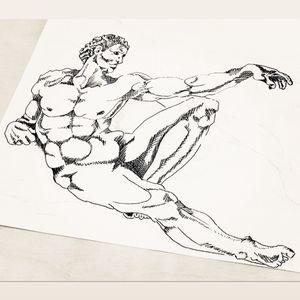 The creation of Adam / Michelangelo #crete #agiosnikolaos #sketch #freehand #artwork #linework #engraving #tattoo #top #drawing #Azov