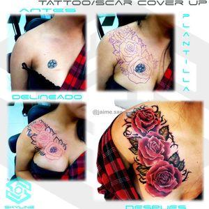 """[TATTOO/SCAR COVER UP] """"Rosas sobre pentagrama y cicatriz"""" Estilo Realismo. Full color. Diseño propio personalizado. Una Sesión Artista: FB/INSTA: @jaime.sxe #SkylineStudio #TattooCoverUp #CreateYourself"""