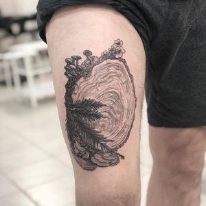 Illustrative tattoo by Tina Poe #TinaPoe #MoonTattooStudio #AustinTexas #Austin #Texas #tattooartist #illustrative #linework #fineline #dotwork #sketch #wood #mushrooms #tree #flowers #thigh #upperleg
