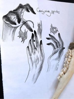 Illustrative tattoo art by Tina Poe #TinaPoe #MoonTattooStudio #AustinTexas #Austin #Texas #tattooartist #illustrative #linework #fineline #dotwork #sketch #hands #spirits #ghosts #magic #cats