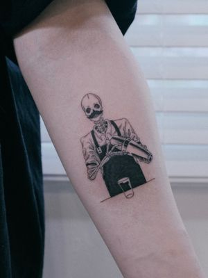 #illustration #skull #skeleton #Bartender #job #linework #cocktail #일러스트 #스컬 #해골 #바텐더 #직업 #라인워크