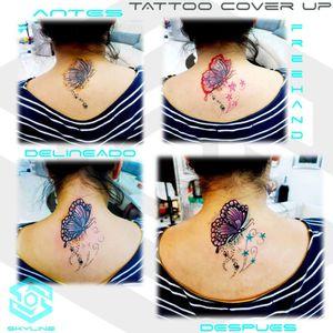 "[TATTOO COVER UP] ""Mariposa rediseñada"" Estilo Ilustración. Full color. Diseño personalizado a freehand Una sesión Artista: FB/INSTA: @jaime.sxe #SkylineStudio #TattooCoverUp #CreateYourself"