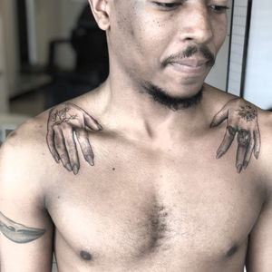 Illustrative tattoo by Tina Poe #TinaPoe #MoonTattooStudio #AustinTexas #Austin #Texas #tattooartist #illustrative #linework #fineline #dotwork #sketch #hands #script #jewel #777 #shoulder
