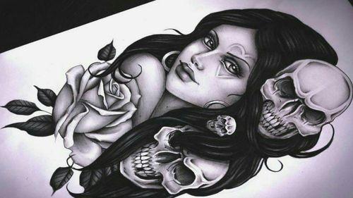 💕💕 #ChicanoGirl #chicano #chicanotattoo #chicanoart #chicanoarte #tattoodrawing #pencildrawing #pencilart #skull #portrait #rose