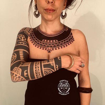 Chest plate by Marco Wallace #MarcoWallace #Haida #Polynesian #Maori #Maoritattoos #tamoko #marquesantattoo #tribaltattooing #blackwork #tribal #neotribal #patterns #linework #geometric #arm #upperarm #forearm #sleeve #shoulder #chest