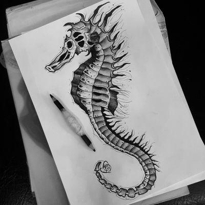 #seahorsetattoo #seahorse #blackworktattoo #sealifetattoo #sealife #sealifetattoos #darkartists #ribstattoo #cooltattoos #londontattoo