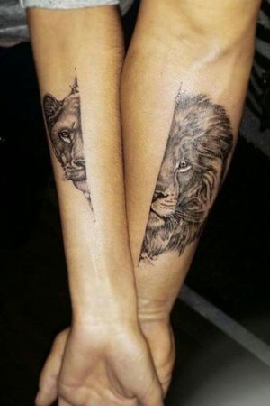 Lion & Lioness Couple Tattoos