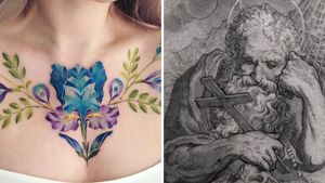 Chest tattoo on the left by Pis Saro and chest tattoo on the right by Cold Gray #ColdGray #PisSaro #chesttattoo #chest #chesttattooforwomen #chesttattooformen