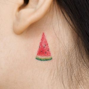This weeks favorite tattoo by Tattoo Pureum #TattooPureum #favoritetattoos #besttattoos #awesometattoos #tattooidea #cooltattoos #uniquetattoos #tattooinspiration #behindtheear #ear #neck #watermelon #fruit #food