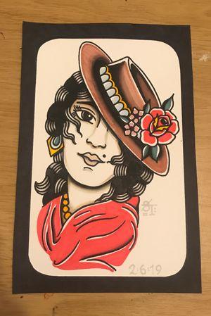 Hat lady #gupsyhead #rose #traditional #traditionaltattoo #tradtattoo #colour #boldtattoos #americantraditional #artwork #flashwork