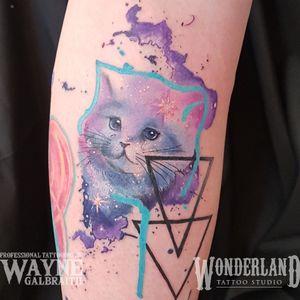 Got to do this sweet lik space kitten today!!!! #wonderlandkitchener #wonderlandstudioskw #mdwipeoutz #watercolortattooartist #watercolor #watercolortattoo www.wonderlandstudioskw.com