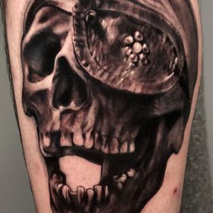 #crone_tattoos #indianapolis #skull #skulltattoo #pirate #goonies #blackandgrey #realism #realistic #illustrative