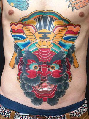 Neo Japanese tattoo by Junior #Junior #stomach #neojapanese #neojapanesetattoo #japanese #Japaneseinspired #ukiyoe #mashup #unique #enma #yama #godofhell #hell #demon #yokai #color #lotus